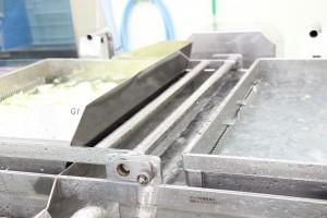 工場見学カット野菜洗浄機