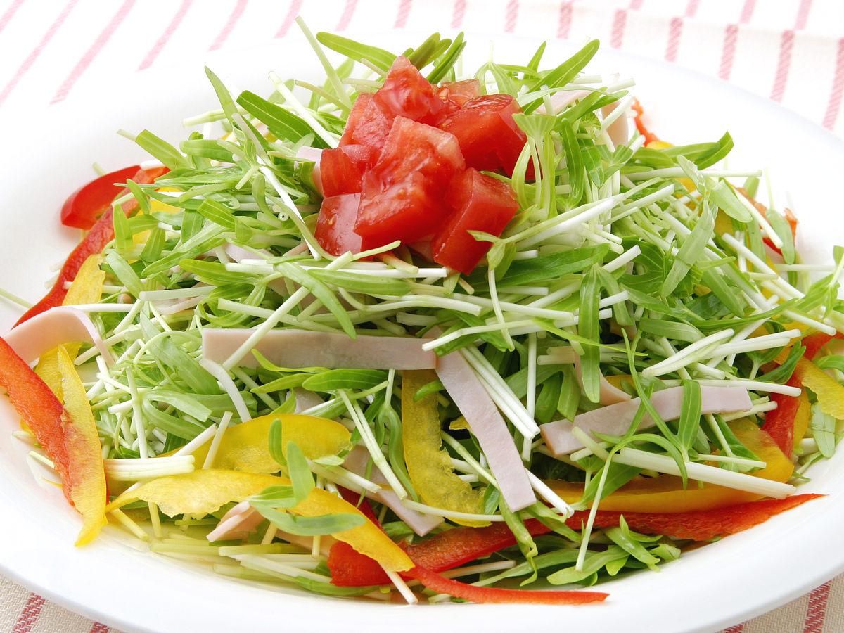 空心菜の新芽ハムサラダ