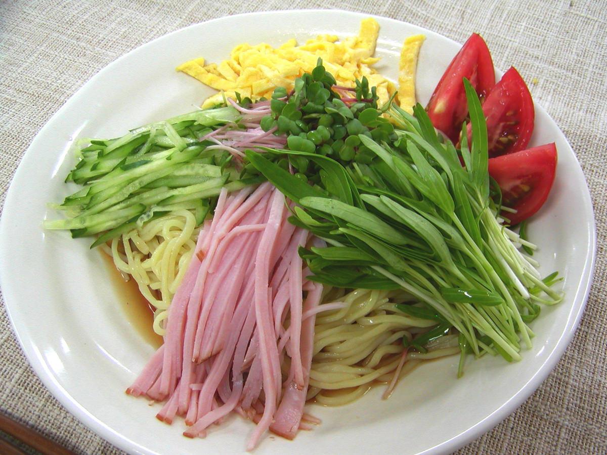 空心菜の新芽 冷やし中華