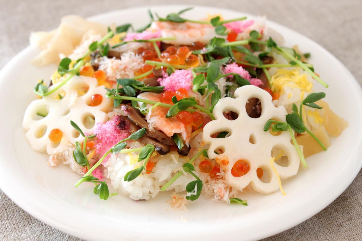 豆苗で野菜いっぱいちらし寿司