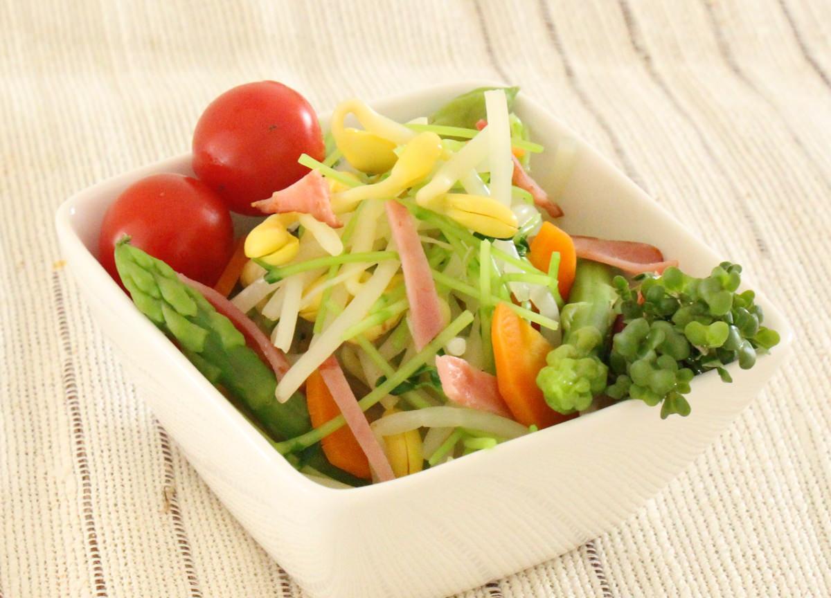 豆苗と野菜がいっぱいのサラダ