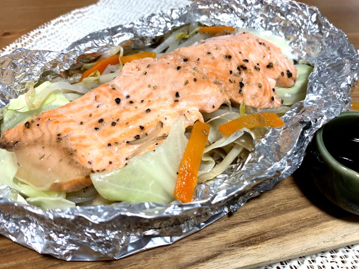 オーブントースターで簡単!野菜たっぷり鮭のホイル焼き